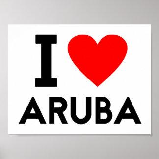 Liebe I Aruba-Landnationsherz-Symboltext Poster