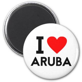 Liebe I Aruba-Landnationsherz-Symboltext Runder Magnet 5,1 Cm