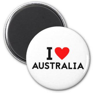 Liebe I Australien-Landnationsherz-Symboltext Runder Magnet 5,1 Cm