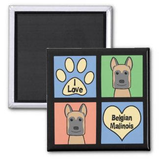Liebe I Belgier Malinois Quadratischer Magnet