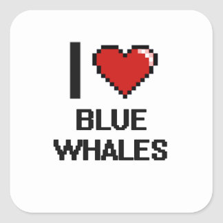 Liebe I Blauwal-Digital-Entwurf Quadratischer Aufkleber