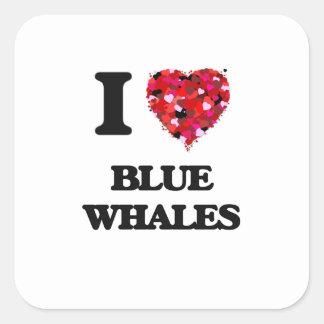 Liebe I Blauwale Quadratischer Aufkleber
