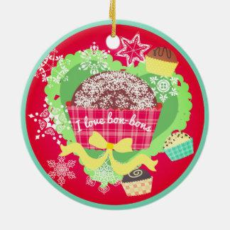 Liebe I Bon Bonsschokoladen Weihnachtsverzierung Rundes Keramik Ornament