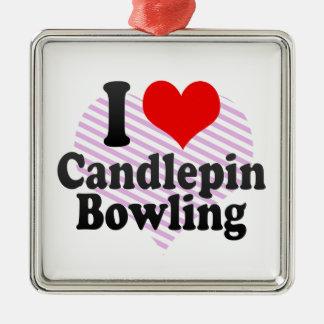 Liebe I Candlepin Bowling Silbernes Ornament