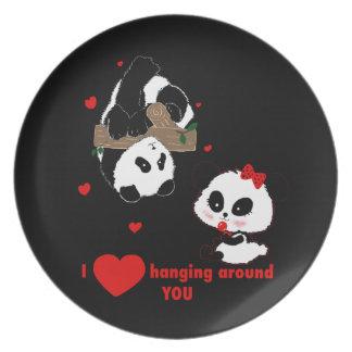 Liebe I, die um Sie Pandas hängt Melaminteller