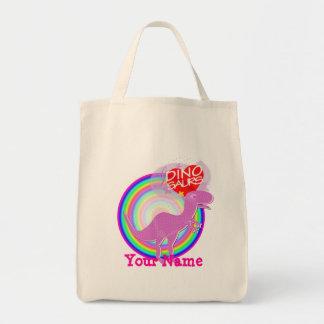 Liebe I Dinosaurier lila T-Rex Ihre Namenstasche Leinentaschen