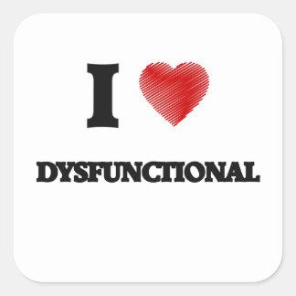 Liebe I dysfunktionell Quadratischer Aufkleber