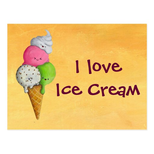 Liebe I Eiscreme Postkarte