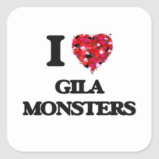Liebe I Gila-Monster Quadratischer Aufkleber