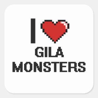 Liebe I Gila-Monster-Digital-Entwurf Quadratischer Aufkleber