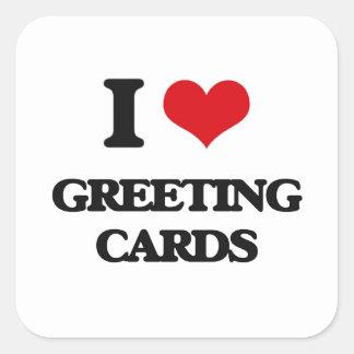 Liebe I Gruß-Karten Quadrataufkleber