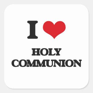Liebe I heilige Kommunion Quadratischer Aufkleber