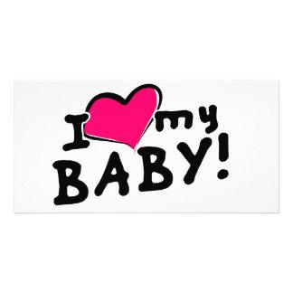 Liebe I (Herz) mein Baby! (Junge oder Mädchen) Personalisierte Photo Karte