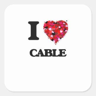 Liebe I Kabel Quadratischer Aufkleber