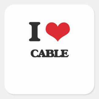 Liebe I Kabel Quadrat-Aufkleber
