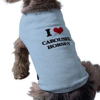 Liebe I Karussell-Pferde Ärmelfreies Hunde-Shirt