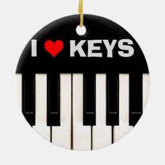 Liebe I Klavier-Schlüssel Rundes Keramik Ornament