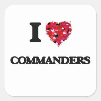 Liebe I Kommandanten Quadrat-Aufkleber