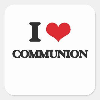 Liebe I Kommunion Quadrat-Aufkleber