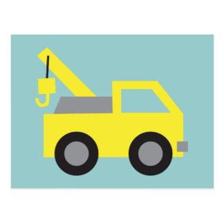 Liebe I LKWs, niedliches gelbes Fahrzeug für Postkarte
