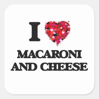 Liebe I Makkaroni und Käse Quadratischer Aufkleber