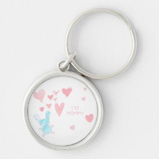 Liebe I Mama-Kind, das Knopf Keychain zeichnet Schlüsselanhänger