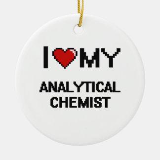Liebe I mein analytischer Chemiker Rundes Keramik Ornament