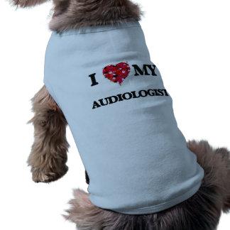 Liebe I mein Audiologe Ärmelfreies Hunde-Shirt