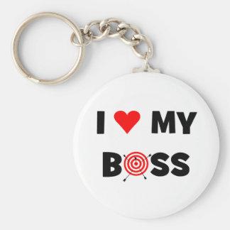 Liebe I mein Chef Standard Runder Schlüsselanhänger