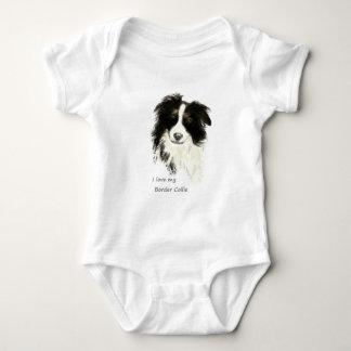 Liebe I mein Grenzcollie-Hundehaustier-Tier Baby Strampler