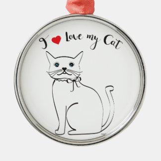 Liebe I meine Katze, niedlich, cool Silbernes Ornament