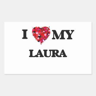 Liebe I meine Laura Rechteckiger Aufkleber