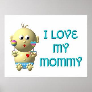 Liebe I meine Mama, die Baby mit Herzen u. Geklapp Poster