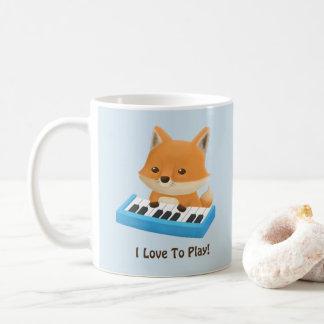 Liebe I, niedlichen Fox auf Klavier zu spielen Kaffeetasse