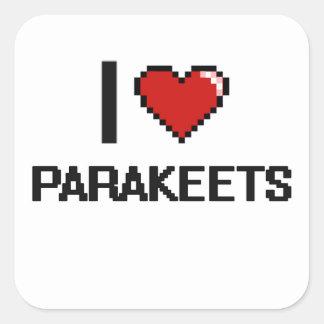 Liebe I Parakeets-Digital-Entwurf Quadratischer Aufkleber