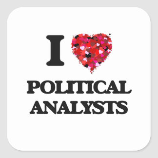 Liebe I politische Analytiker Quadrat-Aufkleber