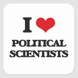 Liebe I politische Wissenschaftler Quadrat-Aufkleber