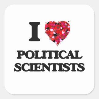 Liebe I politische Wissenschaftler Quadratischer Aufkleber