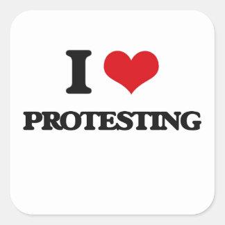 Liebe I Protest Quadrat-Aufkleber