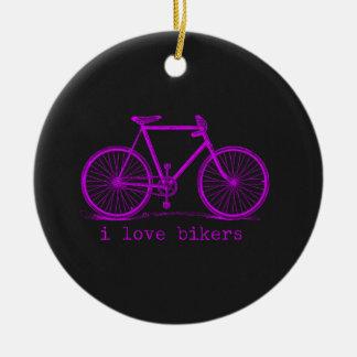 Liebe I Radfahrer-rosa Tafel Rundes Keramik Ornament