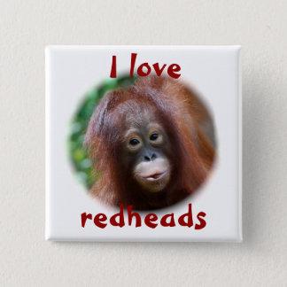 Liebe I Redheads Quadratischer Button 5,1 Cm