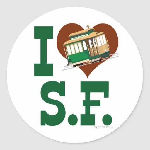 Liebe I San Francisco Drahtseilbahnen Runder Sticker