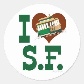 Liebe I San Francisco Drahtseilbahnen Runder Aufkleber
