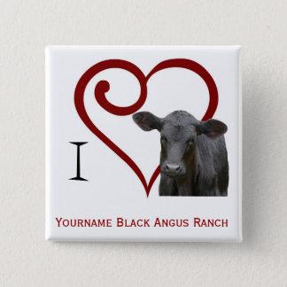 Liebe I schwarzes Angus-Rindfleisch Quadratischer Button 5,1 Cm