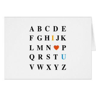 Liebe I Sie, ABC mit rotem Herzen Karte