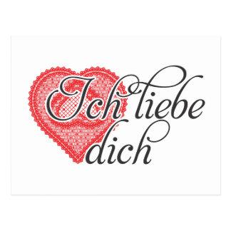 Liebe I Sie auf Deutsch Postkarte