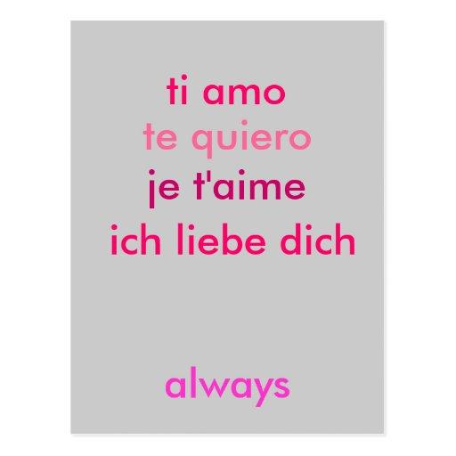 Liebe I Sie…, egal was Sprache (fertigen Sie) Postkarten