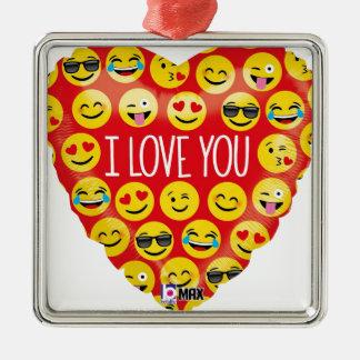 Liebe I Sie emoji Herz Silbernes Ornament