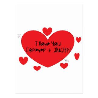 Liebe I Sie für immer und immer Postkarte