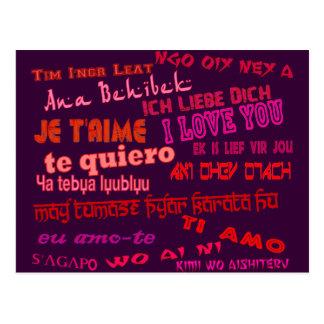Liebe I Sie in den verschiedenen Sprachen Postkarte